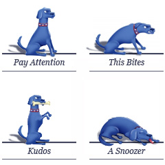 Cal Blue Dog Ratings — Pay Attention, Kudos, This Bites, A Snoozer